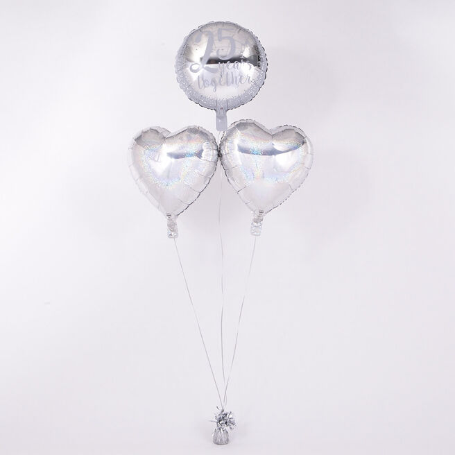 25th Anniversary Silver Wedding Romantic Balloon Bouquet - The Perfect Gift!
