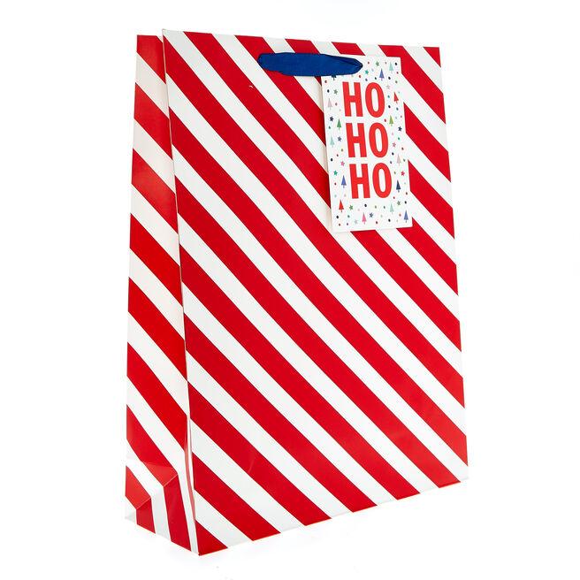 Large Portrait Candy Stripe Christmas Gift Bag