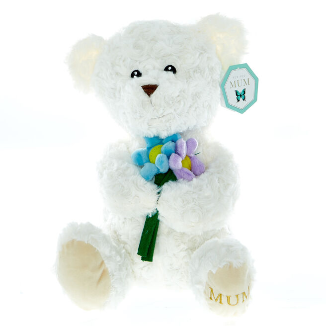 White Bear With Flowers Soft Toy