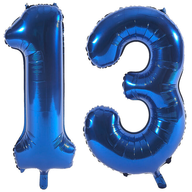 Age 13 Giant Foil Helium Numeral Balloons - Blue (deflated)