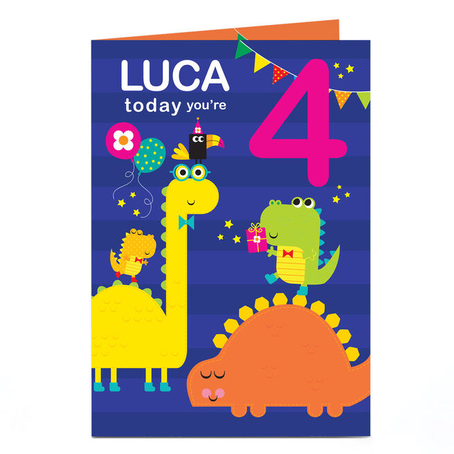 Personalised Any Age Birthday Card - Colourful Dinosaurs