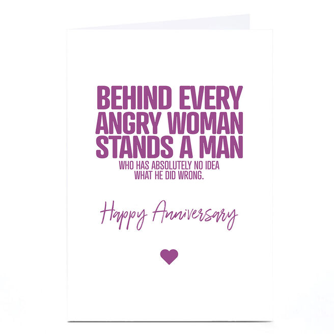 Personalised Punk Cards Anniversary Card - Angry Woman