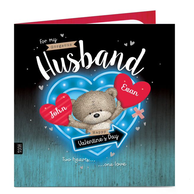 Personalised Valentine's Card - Two Hearts One Love Husband