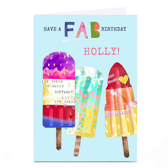 Personalised Kerry Spurling Birthday Card - Ice Lollies