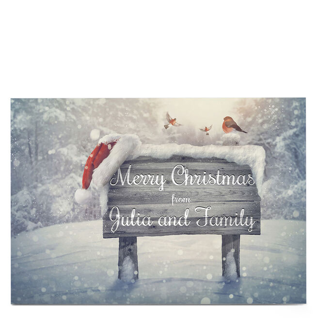 Personalised Christmas Card - Snowy Sign