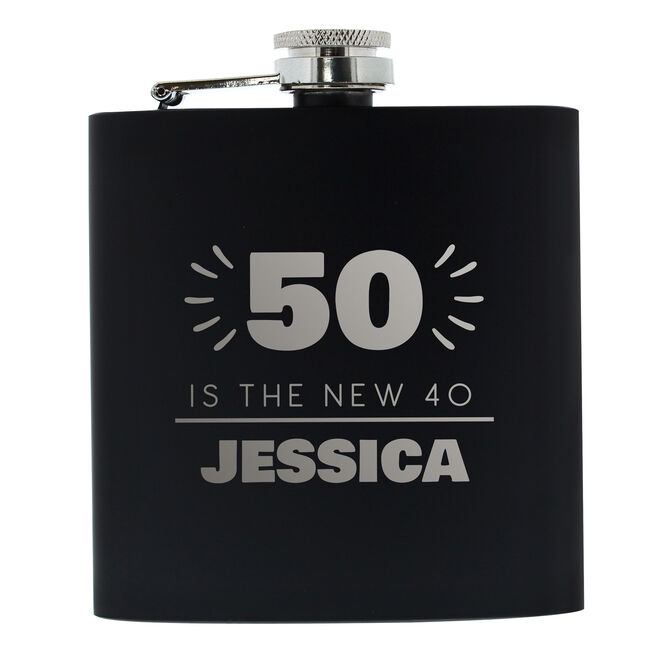 Personalised 50th Birthday Hip Flask - Silver & Black