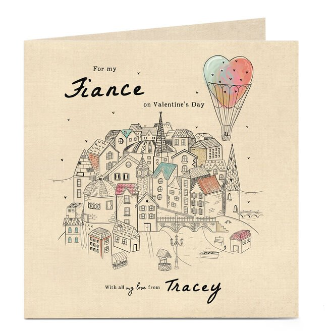 Personalised Valentine's Card - Hot Air Balloon Love