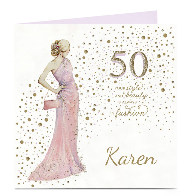 Personalised 50th Birthday Card - Style and Beauty