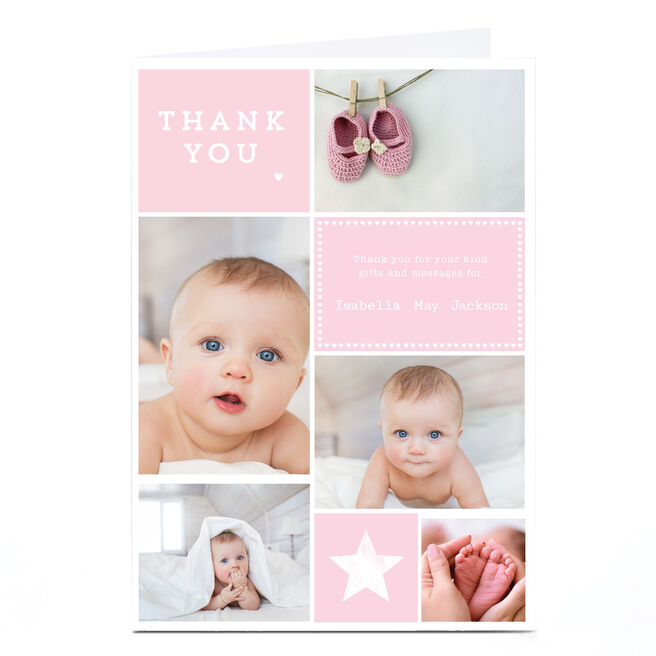 New Baby Photo Card - Pink Thank You