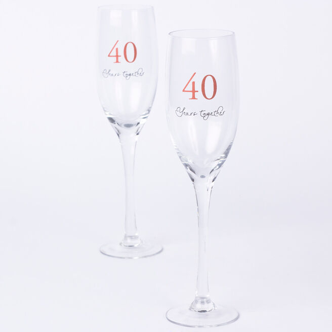 40th Wedding Anniversary Champagne Glass Set
