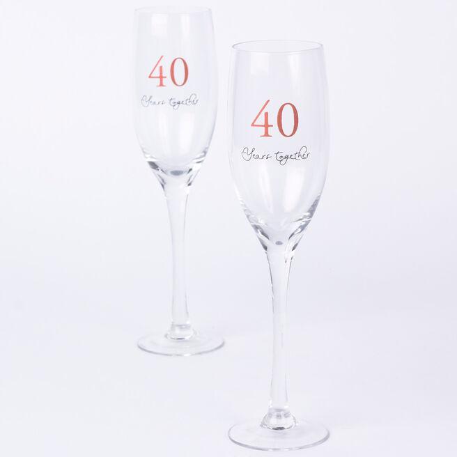 40th Wedding Anniversary Champagne Glass Set