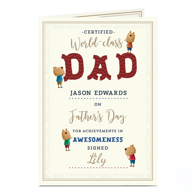 Personalised Father's Day Card - World Class Dad