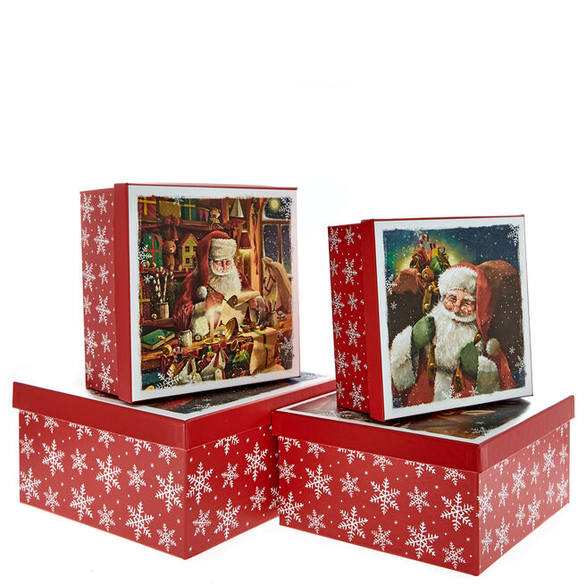 Traditional Santa Christmas Gift Boxes - Set Of 4