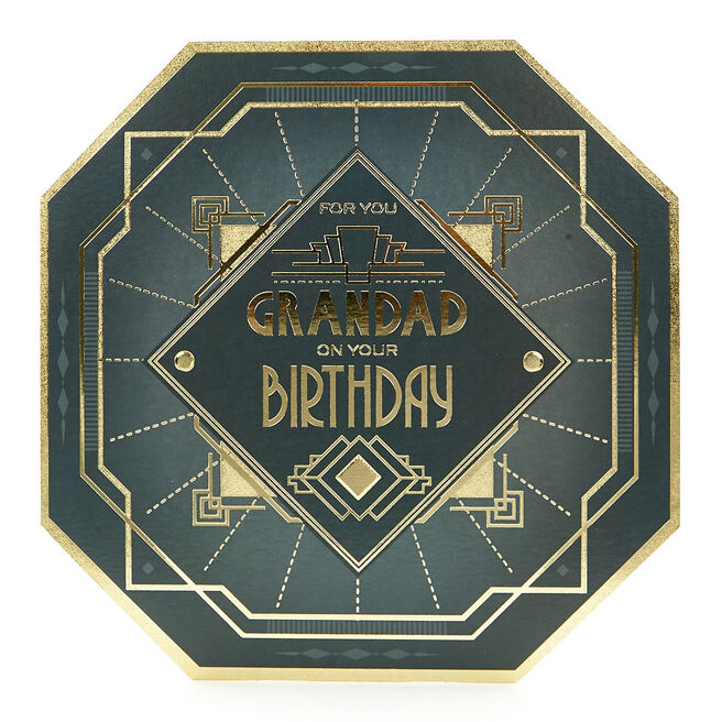 Platinum Collection Birthday Card - Grandad Geometric