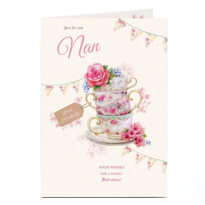 Personalised Birthday Card - Floral Teacups