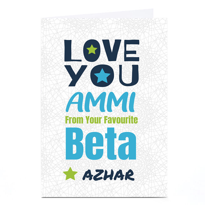 Personalised Roshah Designs Mother's Day Card - Love You Beta