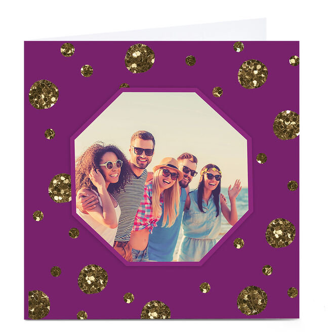 Photo Card - Purple Gold Glitter Polka Dots