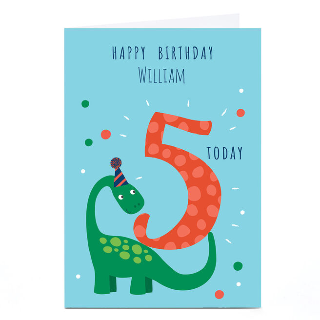 Personalised Klara Hawkins 5th Birthday Card - Dinosaur