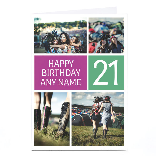 Photo Birthday Card - Green and Purple Boxes, 21