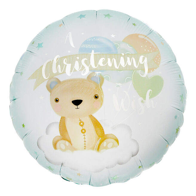 Blue Bear Christening 18-Inch Foil Helium Balloon