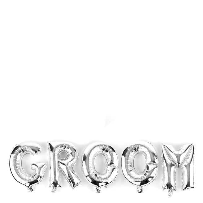 Silver Groom Balloon Banner Kit