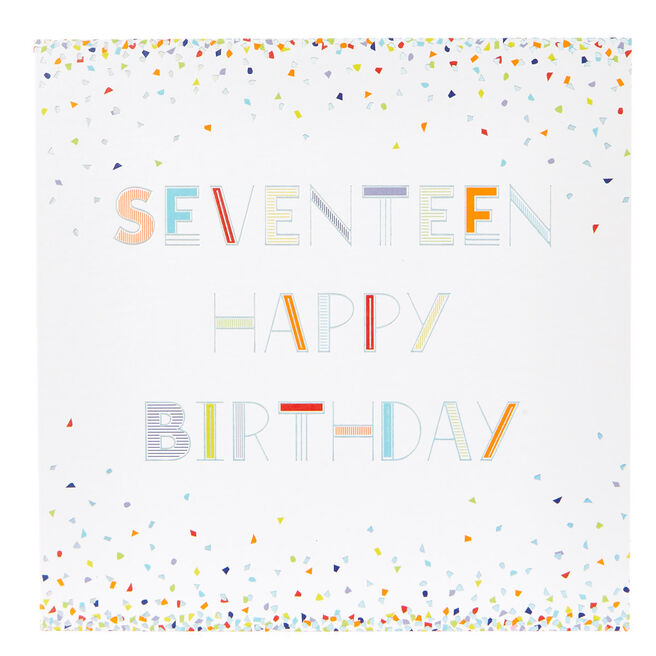 17th Birthday Card - Neon Confetti