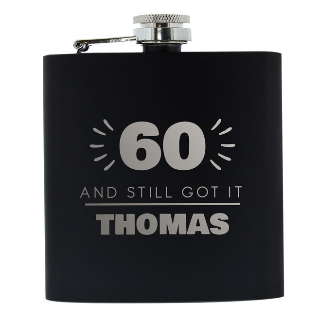 Personalised 60th Birthday Hip Flask - Black & Silver