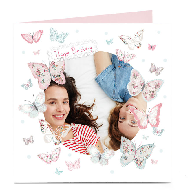 Photo Any Age Birthday Card - Pink Butterflies