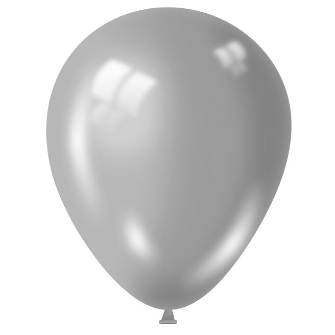 Metallic Silver Latex Balloons - Pack Of 50