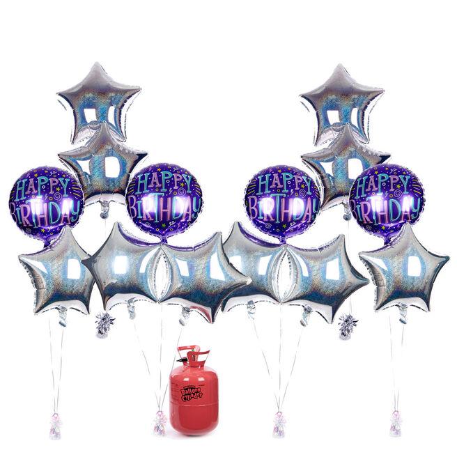 Birthday Party Balloon Bundle - Purple & Silver Stars & Helium