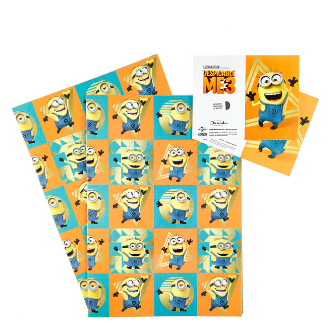 Despicable Me 3 Wrapping Paper & Gift Tags - Pack Of 2
