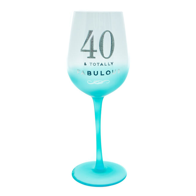 40th Birthday Wine Glass - Totally Fabulous