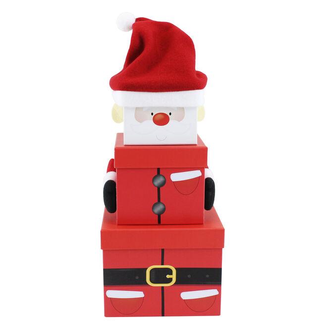 Plush Santa Gift Boxes - Set Of 3