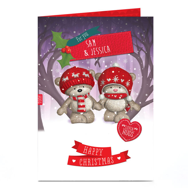 Personalised Hugs Bear Christmas Card - Couple In Snow