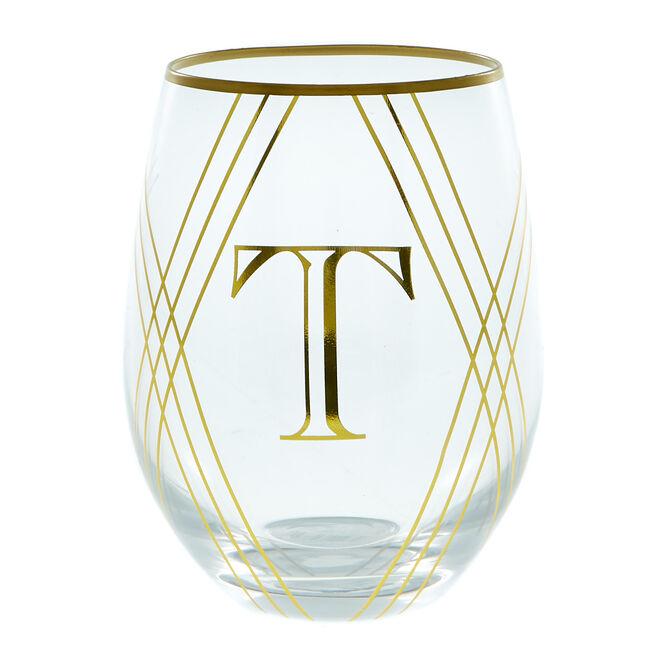 Letter T Glass Tumbler