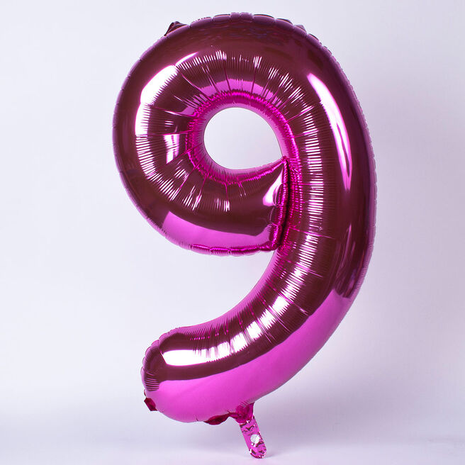 Giant Foil Helium Balloon - Pink Number 9 (Deflated)