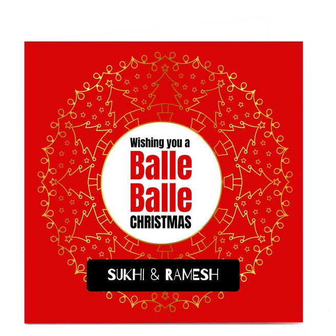 Personalised Roshah Designs Christmas Card - Balle Balle