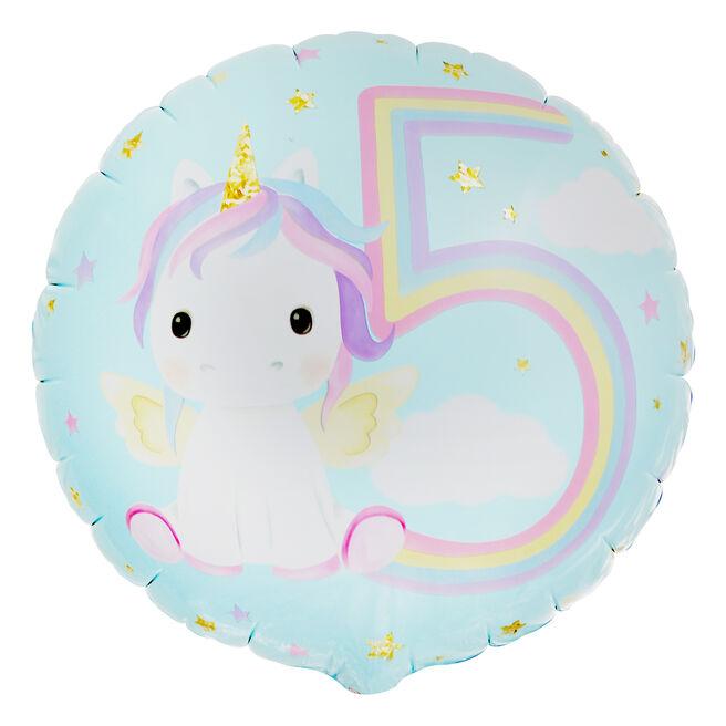 Unicorn 5th Birthday 18-Inch Foil Helium Balloon