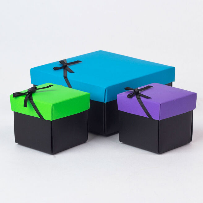 Blue, Purple & Green Gift Boxes, Set of 3