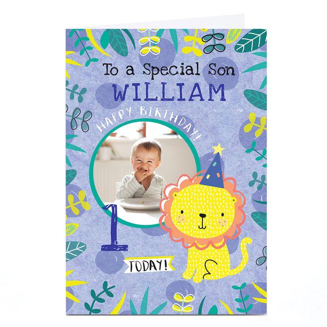 Photo Juniper & Rose Birthday Card - Blue Lion