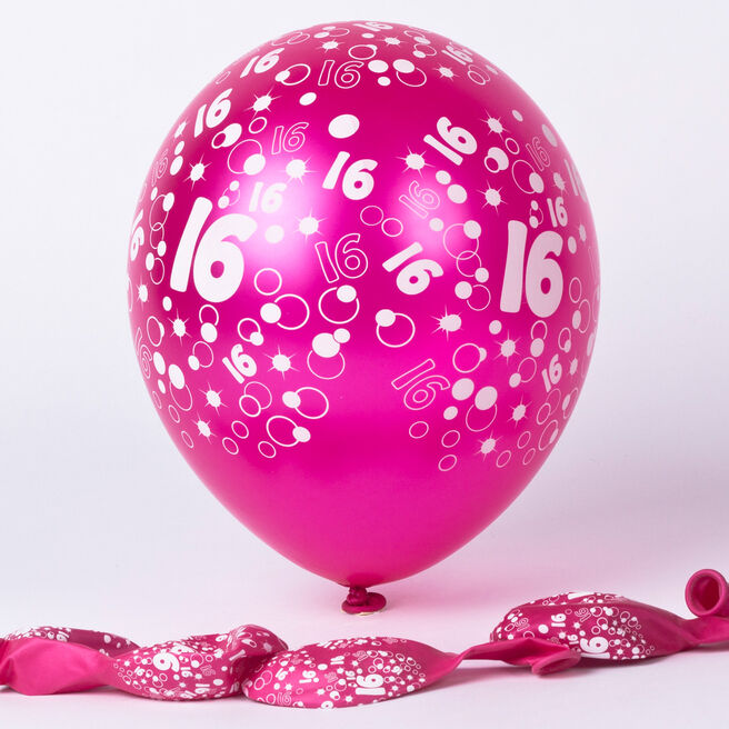 Metallic Pink Circles 16th Birthday Balloons - Pack Of 6