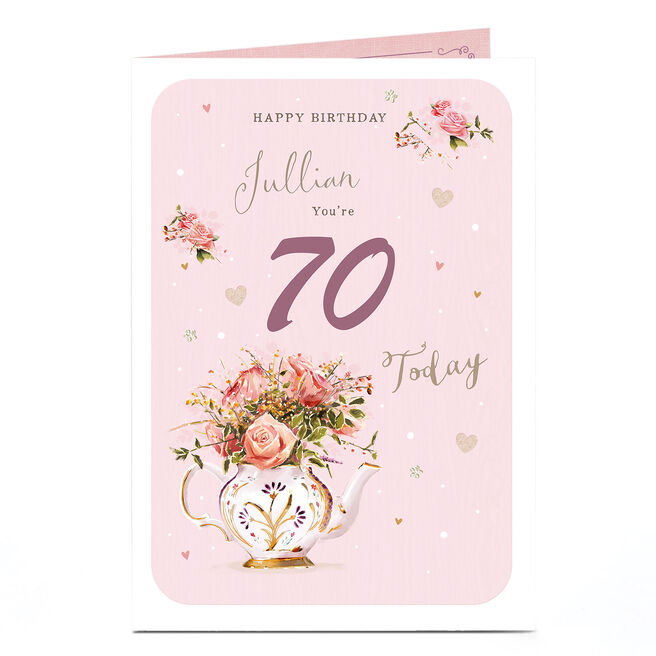 Personalised Any Age Birthday Card - Pink Floral Tea Pot