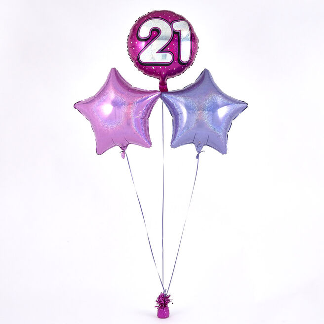 Pink 21st Birthday Balloon Bouquet - DELIVERED INFLATED!