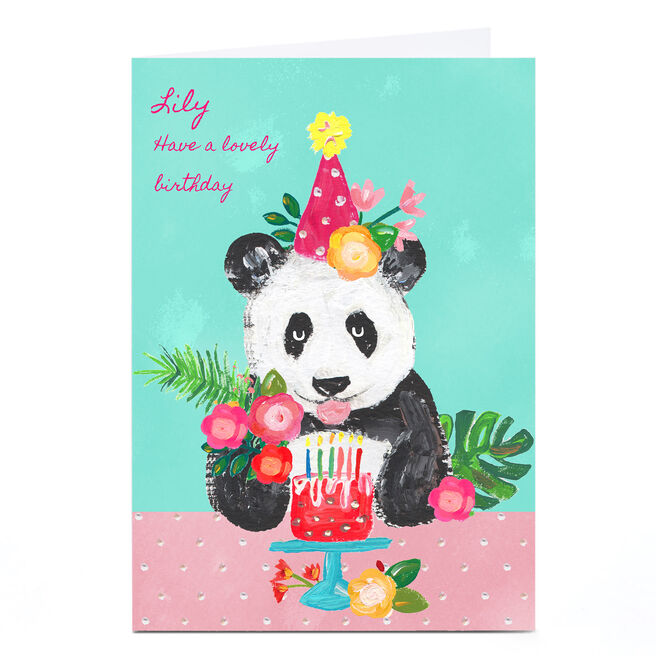 Personalised Kerry Spurling Birthday Card - Panda Party