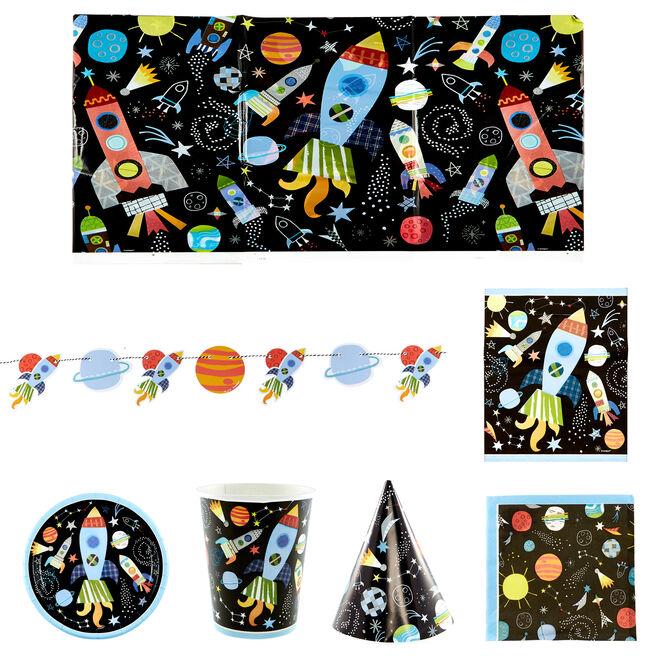 Space Birthday Party Tableware & Decorations Bundle - 98 Pieces