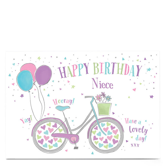 Personalised Birthday Card - Pastel Bicycle With Balloons, Niece
