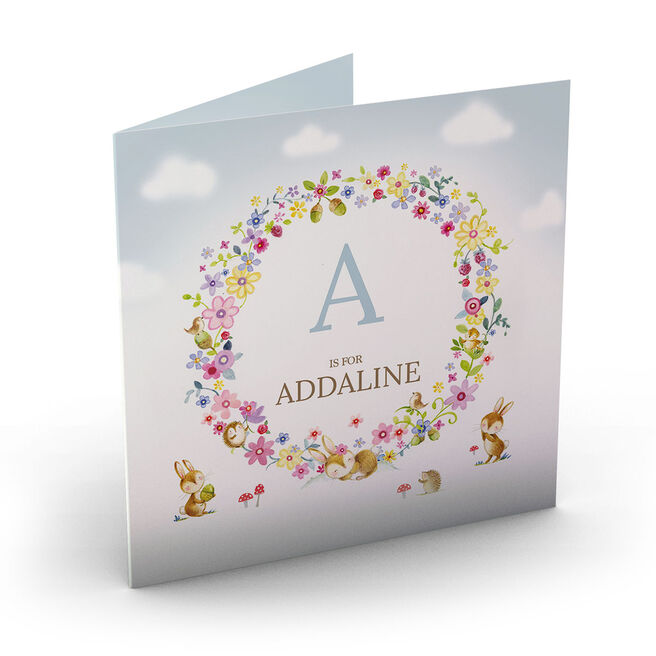 Personalised New Baby Card - A,B,C Is For