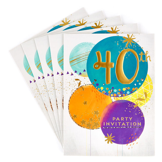 40th Birthday Party Invitation Cards, Pack Of 10