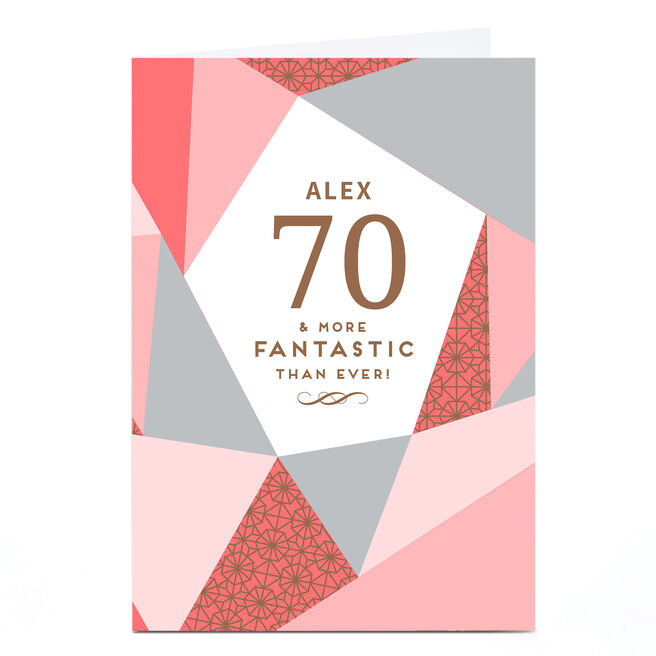 Personalised 70th Birthday Card - Geometric Pink