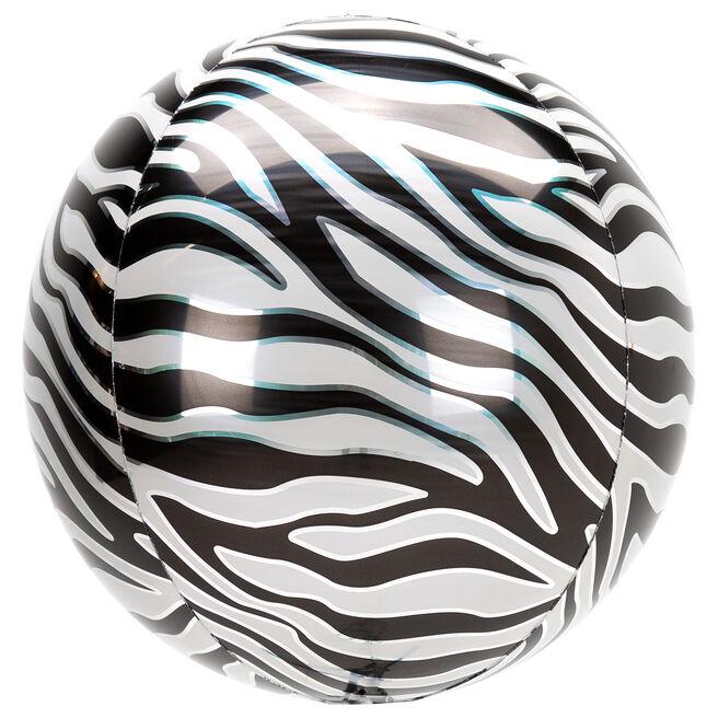Orb-Shaped Zebra Print 16 Foil Helium Balloon